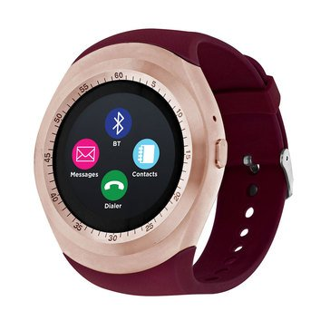 iTouch Unisex Curve Rose Gold Merlot Strap Watch