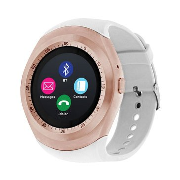 iTouch Unisex Curve Rose Gold White Strap Watch