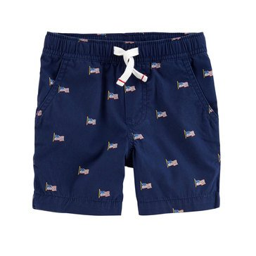 Carter's Little Boy's Navy Flag Pull On Shorts
