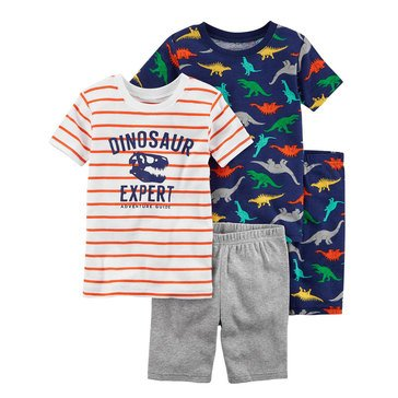Carter's Little Boys' Dino Print 4- Piece Cotton Sleep Wear Set