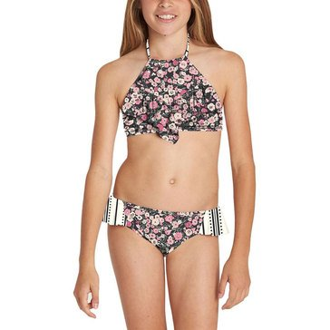 Billabong Big Girls' 2-Piece Ditsy Soul Hi-Neck Swimsuit
