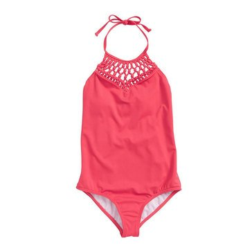 Billabong Big Girls' 1-Piece Macrame Madness Swimsuit, Passion Fruit