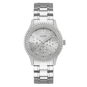 Guess Women's Multifunction Steel with Double Row Crystal Bezel Watch, 40mm