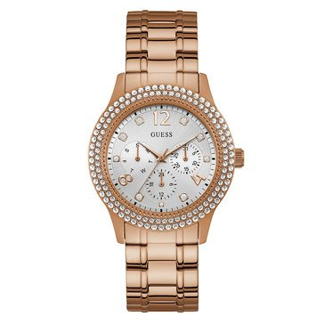 Guess Women's Multifunction Rose Gold Steel with Double Row Crystal Watch, 40mm