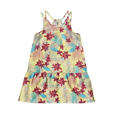 Roxy Big Girls' Sleeveless Moments Of Time Print Woven Dress, Sunshine Flowers