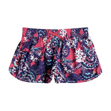 Roxy Big Girls' Lifetime Dreamer Print Woven Short, Rouge Red