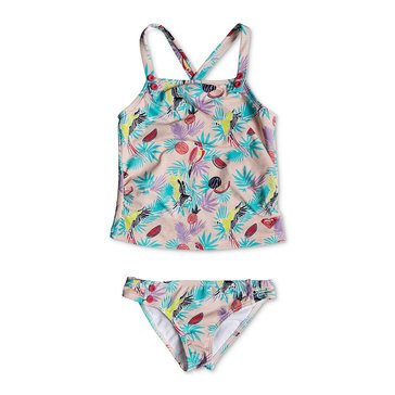 Roxy Little Girls' 2-Piece Vintage Topical Tankini Swimsuit, Tropical Peach