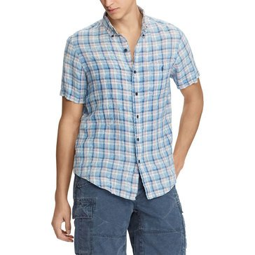 Polo Ralph Lauren Men's Short Sleeve Woven Linen Plaid Sport in Natural/Indigo