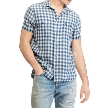 Polo Ralph Lauren Men's Short Sleeve Woven Plaid Linen Sport Shirt Linen in Blue/White