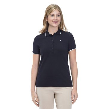 Izod Women's Solid Slim Fit Polo In Cavier