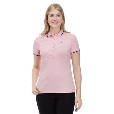 Izod Women's Solid Slim Fit Polo In Candy Pink