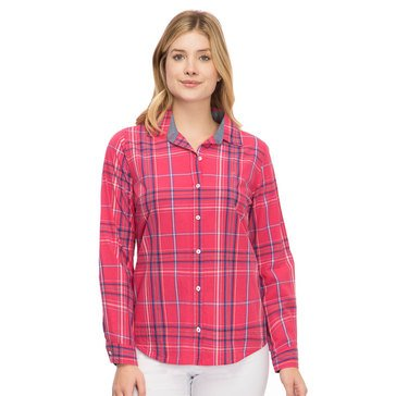 Izod Women's Plaid woven Button Down Shirt With Logo In Azalea Combo