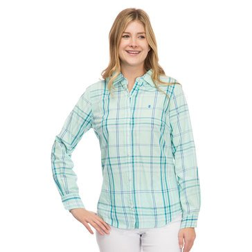 Izod Women's Plaid Woven Button Down Shirt With Logo In Beach Glass Combo
