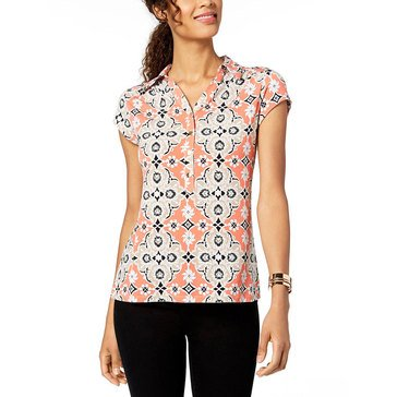 Charter Club Women's Medallion Printed Short Sleeve Polo