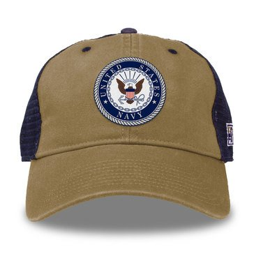 The Game Men's Navy Crest Patch On The Front Stretch Fit Trucker Hat