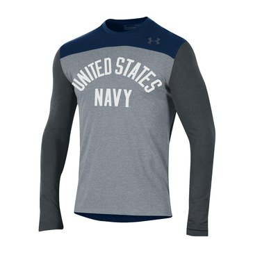 Under Armour Men's Freestyle Grey & Navy Blocked Long Sleeve Tee with USN Design