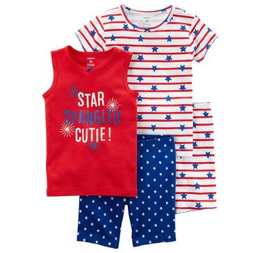 Carter's Little Girls' 4-Piece Cotton Americana 4-Piece Cotton Pajama Set