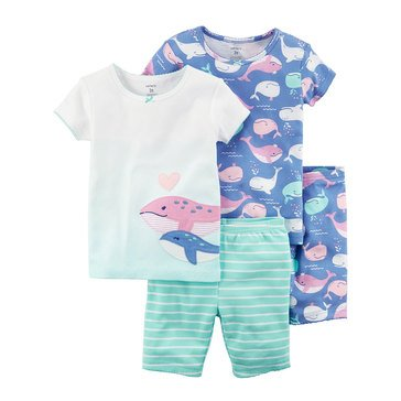 Carter's Toddler Girls' 4-Piece Cotton Whale Pajama Set