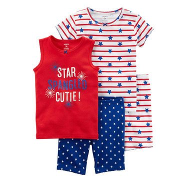 Carter's Toddler Girls' 4-Piece Cotton Americana Pajama Set