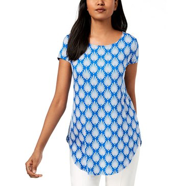 Alfani Women's Knit Short Sleeve Dutch Petals Tee in Aqua