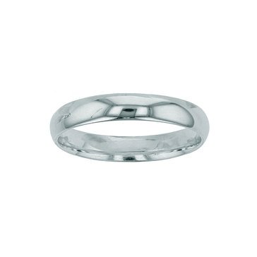 10K White Comfort Fit Plain Band, 4mm
