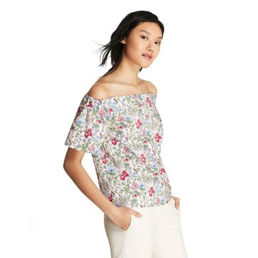 Brooks Brothers Floral Off The Shoulder Top In Small Garden Floral