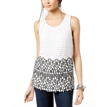 I.N.C. International Concepts Lace Crochet Tank with Black Lace Contrast Tipping