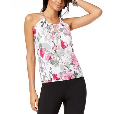 I.N.C. International Concepts Keyhole Beaded Halter Top in Peony Paradise