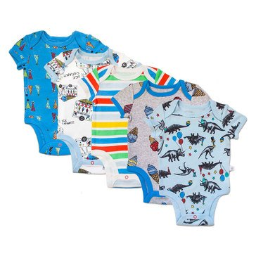 Rosie Pope Baby Boys' 5-Pack Bodysuit Set, Party Animal