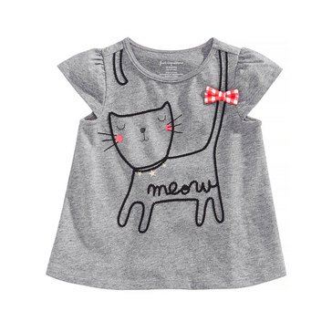 First Impressions Baby Girls' Kitty Dolman Top, Pewter Heather