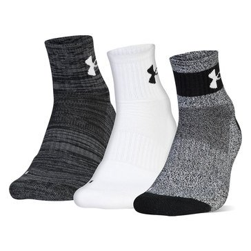 Under Armour Men's Phenom 2PK Quarter Socks in Black Assorted- LG