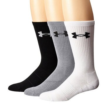 Under Armour Men's Elevated 3-Pack Performance Crew Socks in Steel Grey Assorted-LG