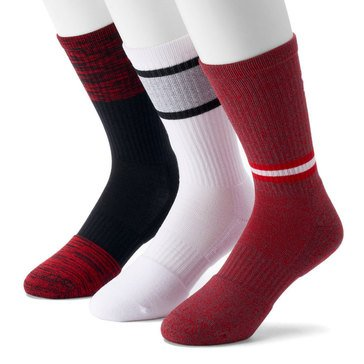Under Armour Men's Phenom Twisted 3-Pack Crew Socks in Red Assorted- LG