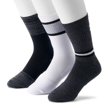 Under Armour Men's Phenom Twisted 3-Pack Crew Socks in Black Assorted- LG