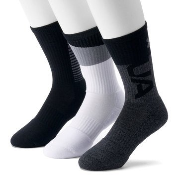 Under Armour Men's Phenom 3.0 3-Pack Crew Socks in Graphite Assorted- MED