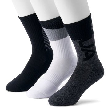 Under Armour Men's Phenom 3.0 3PK Crew Socks in Graphite Assorted- LG