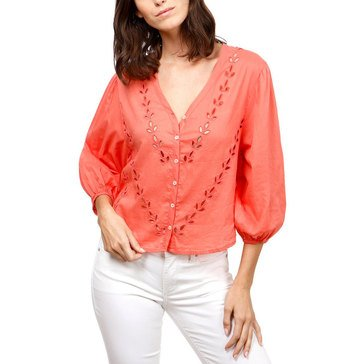 Lucky Brand Women's Eyelet Peasant Blouse In Spiced Coral