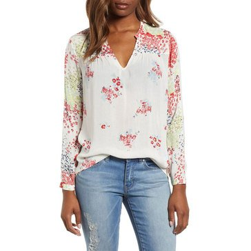 Lucky Brand Women's Mixed Print Peasant Top In Natural Multi