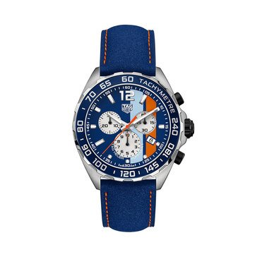 Tag Heuer Men's Formula 1 Quartz Chrono Gulf Edition Blue Dial Leather Strap, 43mm