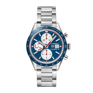 Tag Heuer Men's Calibre Auto Chrono Blue Dial Ceramic Stainless Steel Bracelet Watch, 41mm