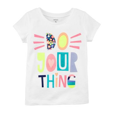 Carter's Little Girls' Do Your Thing Tee, White