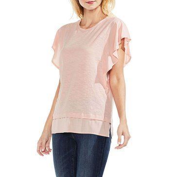 Vince Camuto Women's Mixed Media Knit Ruffle Sleeve Top