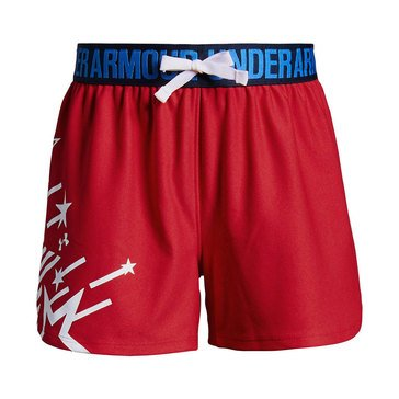 Under Armour Big Girls' Americana Play Up Short, Red