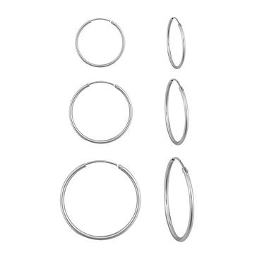 Children's 3 Pair Hoop Earring Set, Sterling Silver