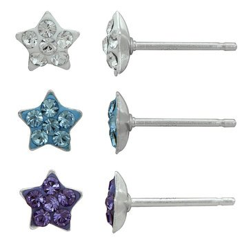 Children's 3 Pair Star Earring Set, Sterling Silver