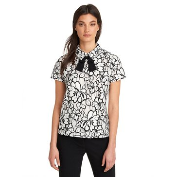 Karl Lagerfeld Women's Short Sleeve Lace Top With Bow In White/Black
