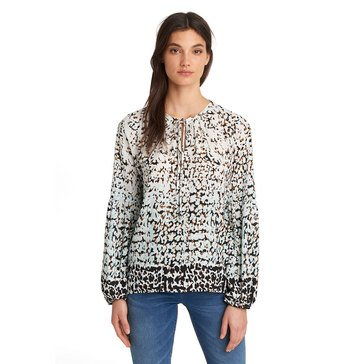 Karl Lagerfeld Women's Poet Sleeve Woven Blouse Top With Tie Neck