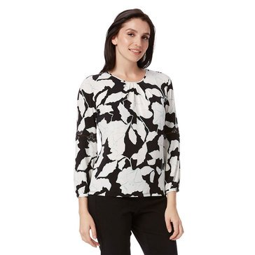 Karl Lagerfeld Women's Printed Knit With Lace Top In Black Combo