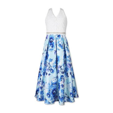 Speechless Big Girls' Lace Floral Bottom Dress, Mint Royal