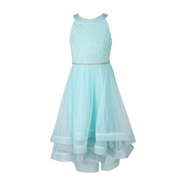 Speechless Big Girls' Lace High Neck Dress, Mint